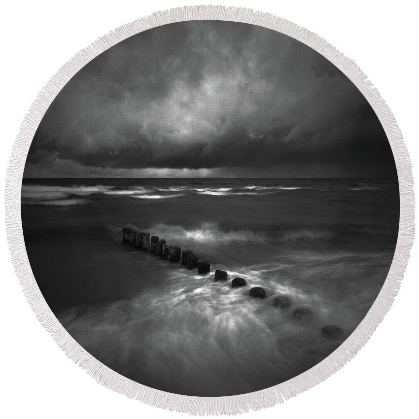 Landscape Round Beach Towel featuring the photograph Litania by Michal Karcz