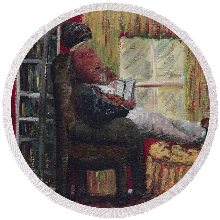 Hog Round Beach Towel featuring the painting Literary Escape by Nadine Rippelmeyer