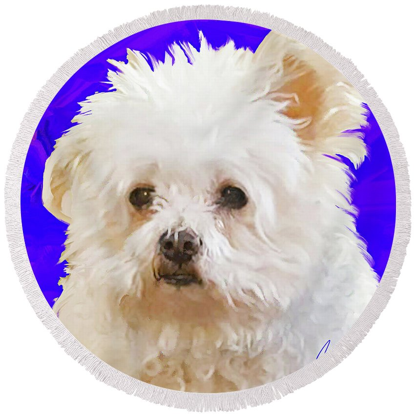 Little Bear Is Listening With One Ear Up . What A Fun Mixed Breed Painting This Is. I Loved All That Fluffy White Fur And Those Focused Eyes. How Can You Not Fall In Love With Little Bear. Round Beach Towel featuring the painting Little Bear by Jackie Jacobson