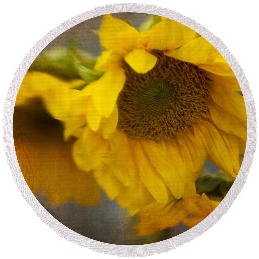 Sunflower Round Beach Towel featuring the photograph Little Bit Of Sunshine by Beverly Stapleton