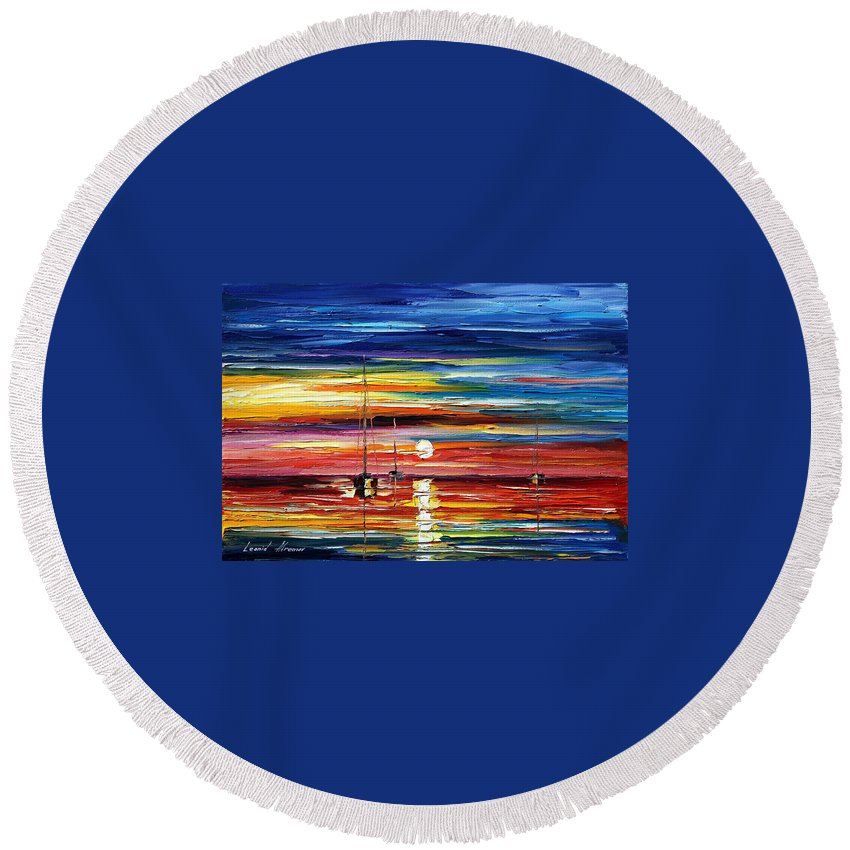 Boat Round Beach Towel featuring the painting Little Boat by Leonid Afremov