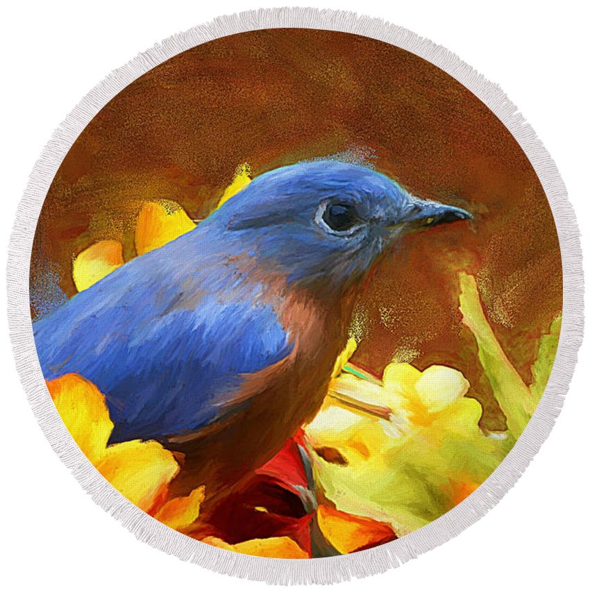 Bluebird Round Beach Towel featuring the painting Little Boy Blue by Tina LeCour