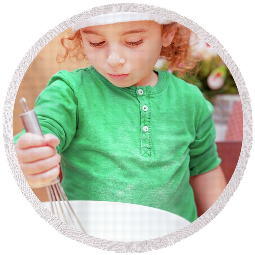 Baby Round Beach Towel featuring the photograph Little Boy Making Christmas Cookies by Anna Om