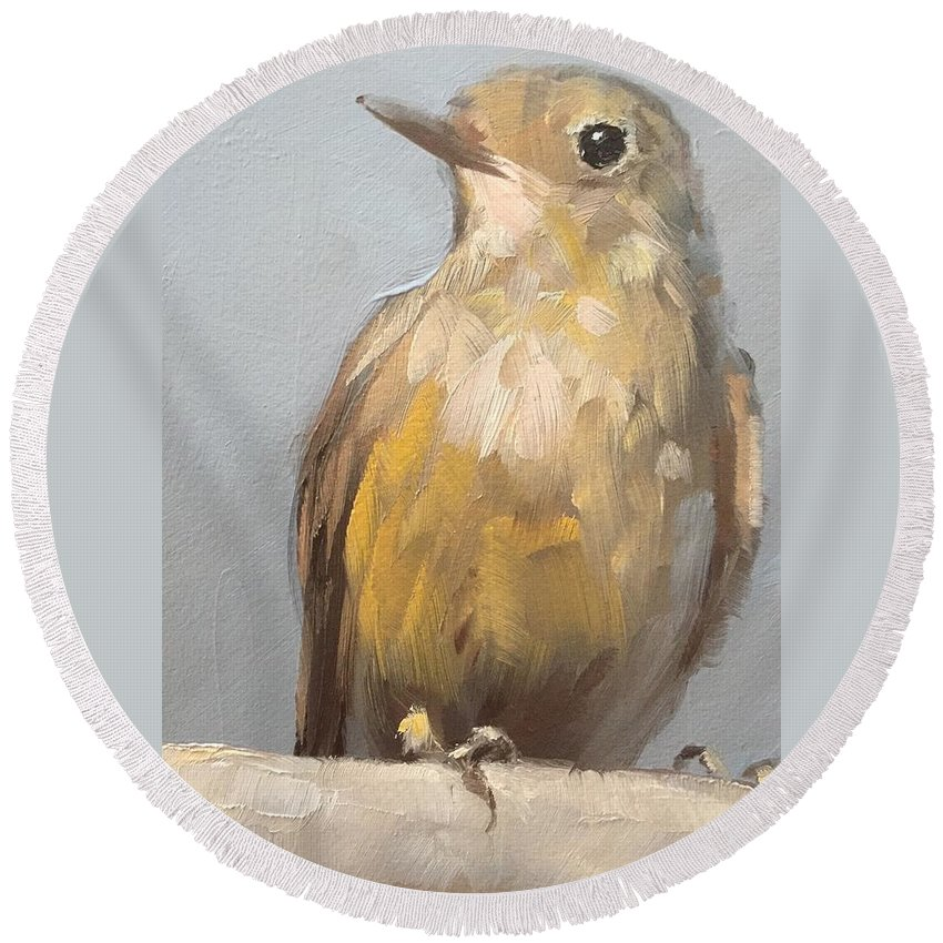 Bird Round Beach Towel featuring the painting Little Brown Bird by Gary Bruton