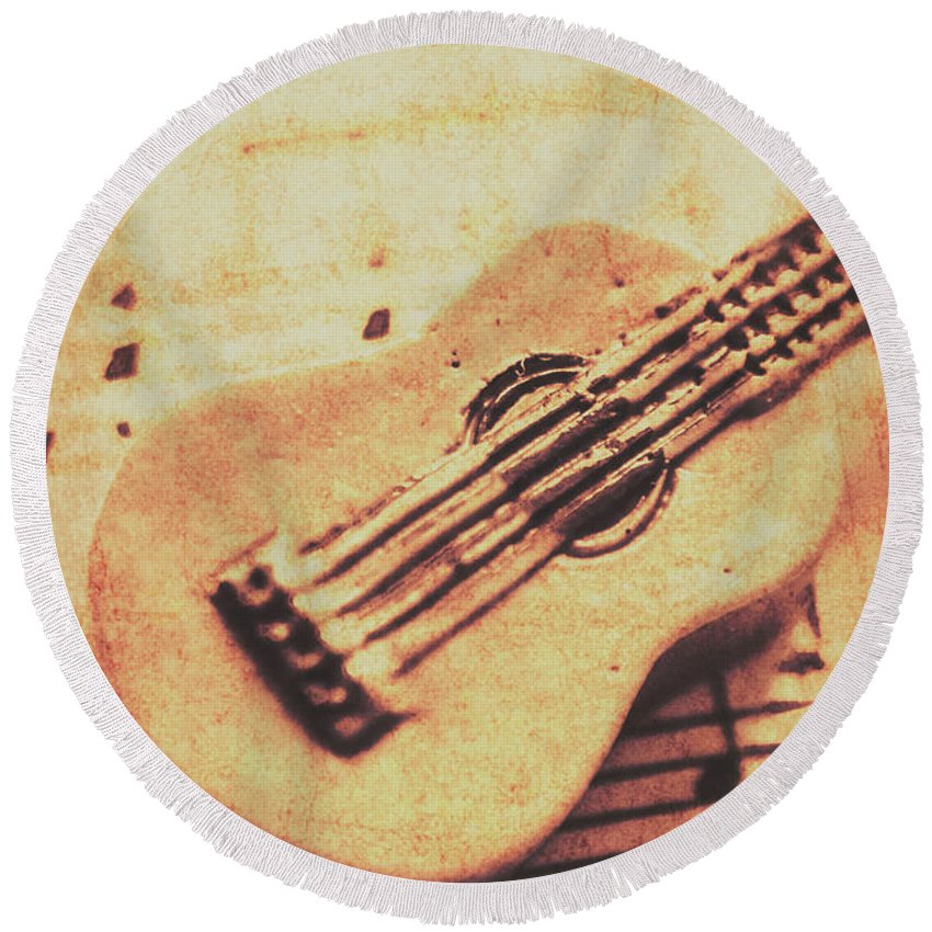 Folk Round Beach Towel featuring the photograph Little Carved Guitar On Sheet Music by Jorgo Photography - Wall Art Gallery