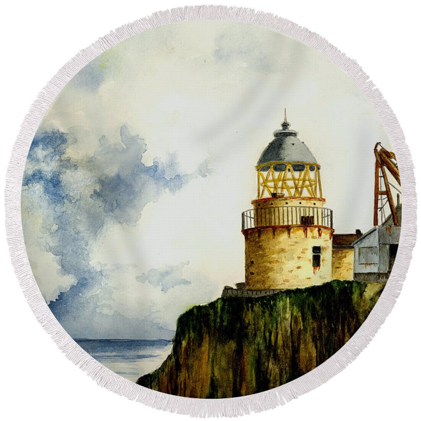 Lighthouse Round Beach Towel featuring the painting Little Cumbrae Lighthouse by Michael Vigliotti