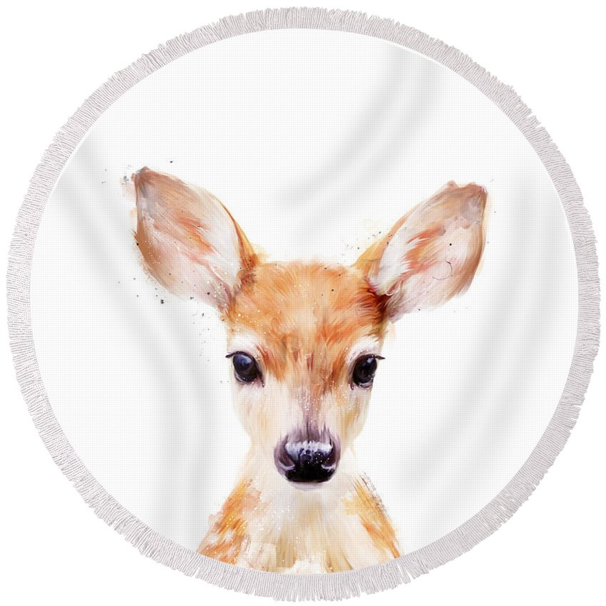 Baby Deer Round Beach Towels