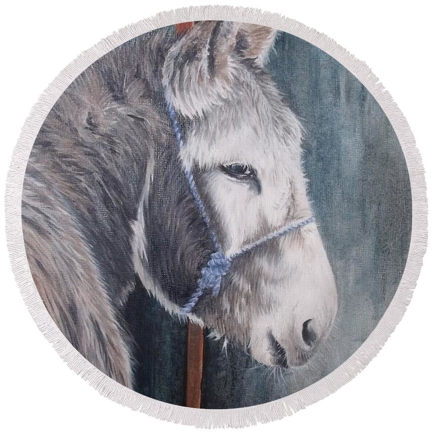 Portrait Round Beach Towel featuring the painting Little Donkey-glin Fair by Pauline Sharp