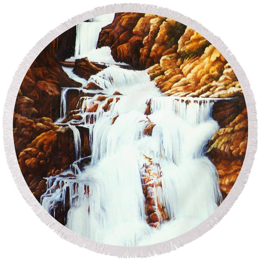 Waterfall Round Beach Towel featuring the painting Little Firehole Falls by Teri Rosario