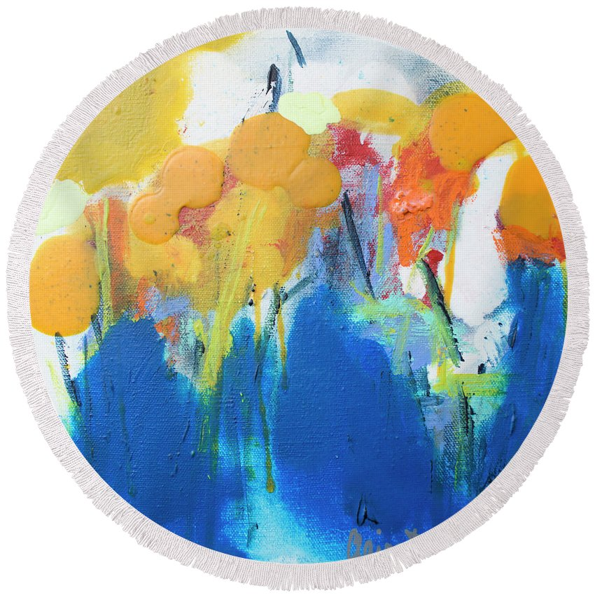 Abstract Round Beach Towel featuring the painting Little Garden 02 by Claire Desjardins