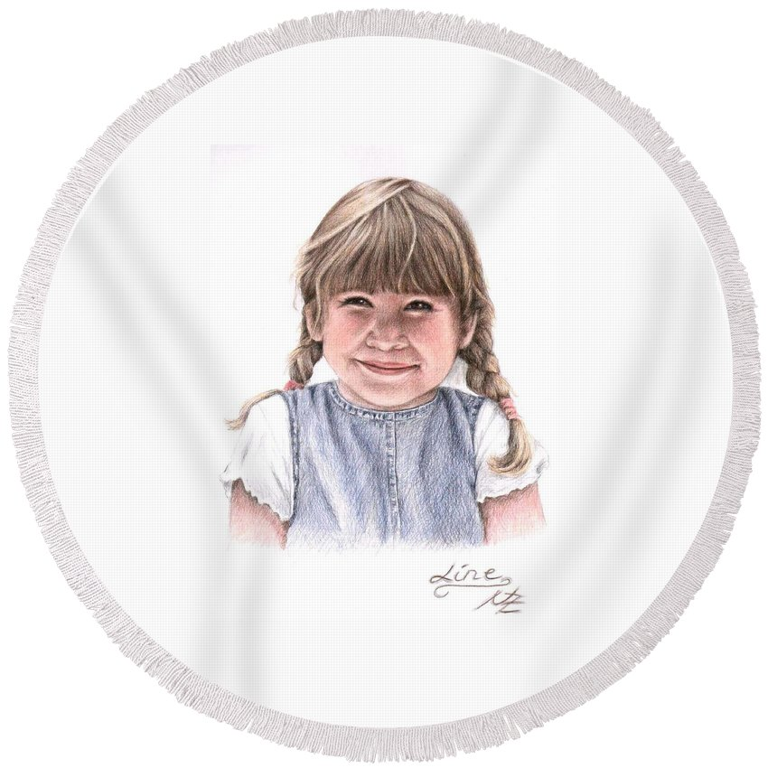 Girl Round Beach Towel featuring the drawing Little Girl by Nicole Zeug