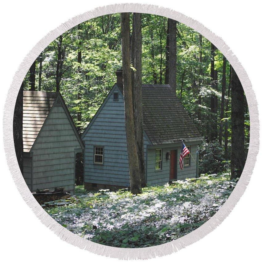 Little Round Beach Towel featuring the photograph Little House In The Woods by Jost Houk