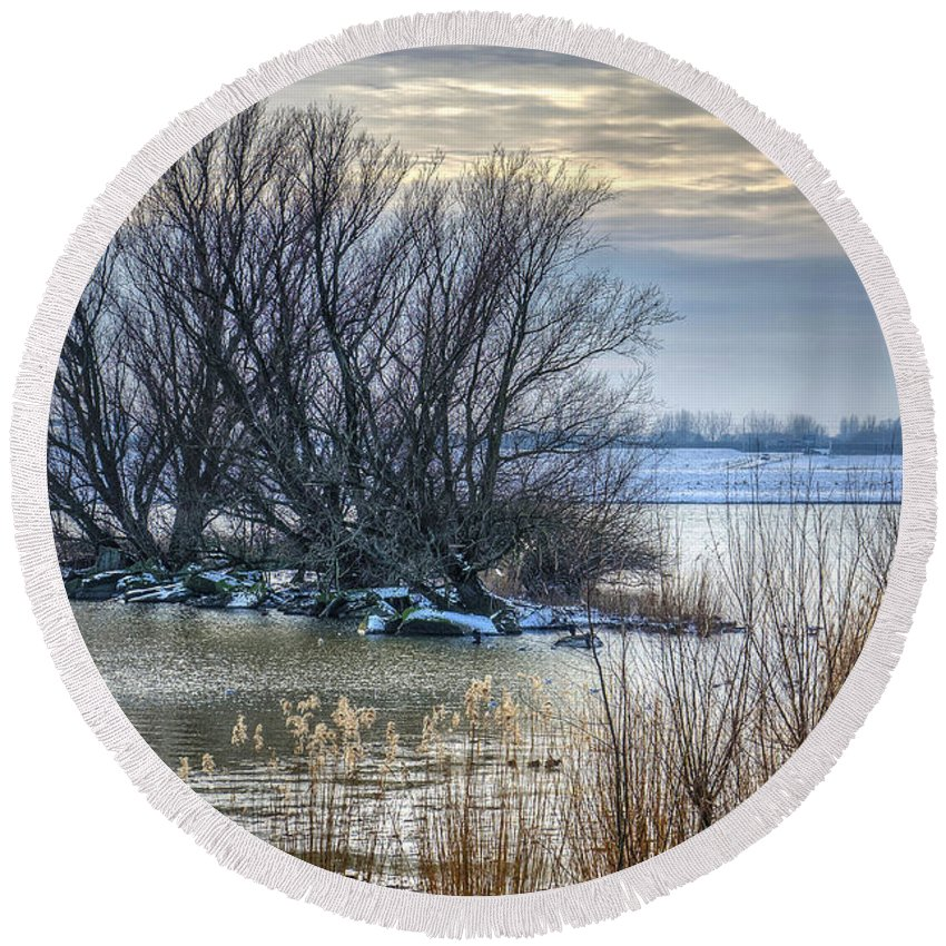 Winter Round Beach Towel featuring the photograph Little Island In Winter by Frans Blok