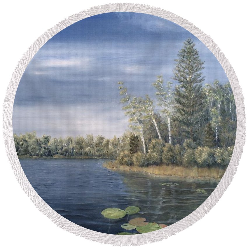 Landscape Round Beach Towel featuring the painting Little Lake In The Woods by J O Huppler