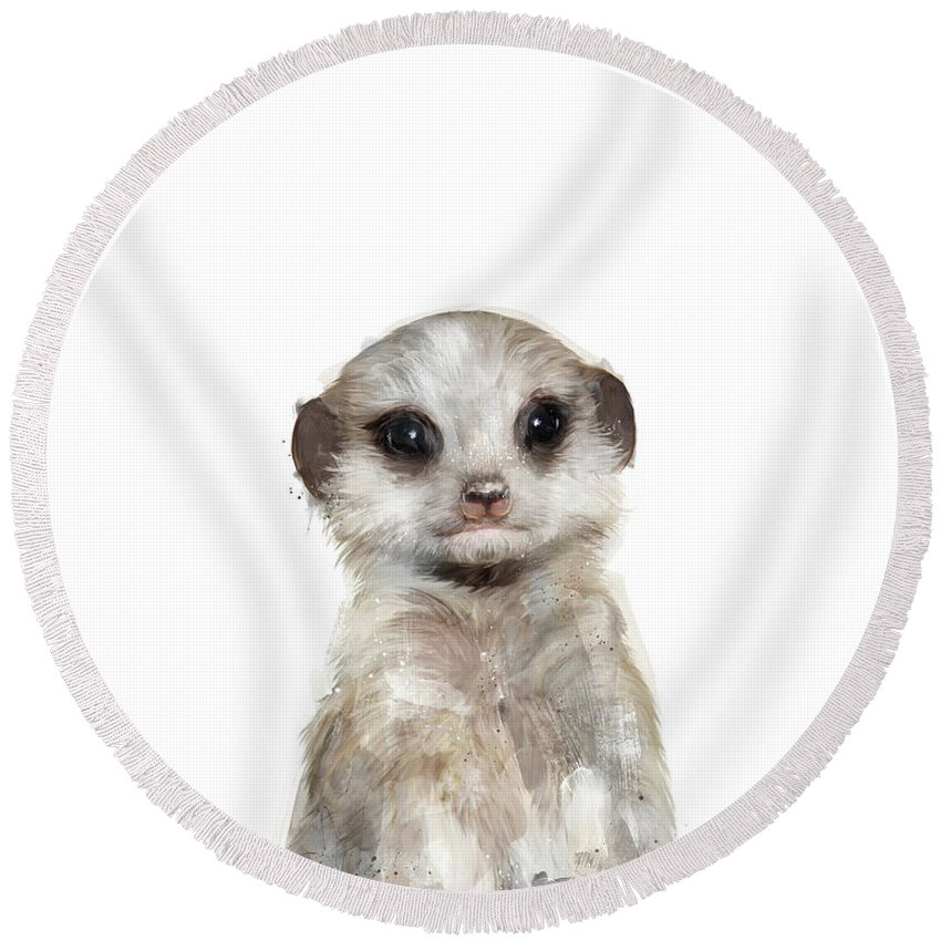 Meerkat Round Beach Towel featuring the painting Little Meerkat by Amy Hamilton