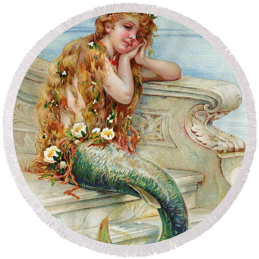 Mermaid Round Beach Towel featuring the painting Little Mermaid by E S Hardy