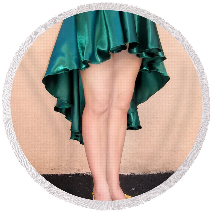 Ameynra Round Beach Towel featuring the photograph Ameynra Fashion Satin High Low Skirt, Dark-green by Sofia Metal Queen