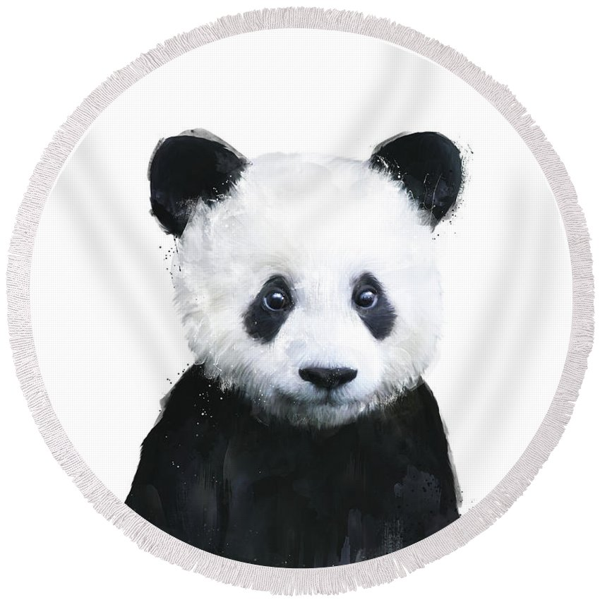 Panda Round Beach Towel featuring the painting Little Panda by Amy Hamilton