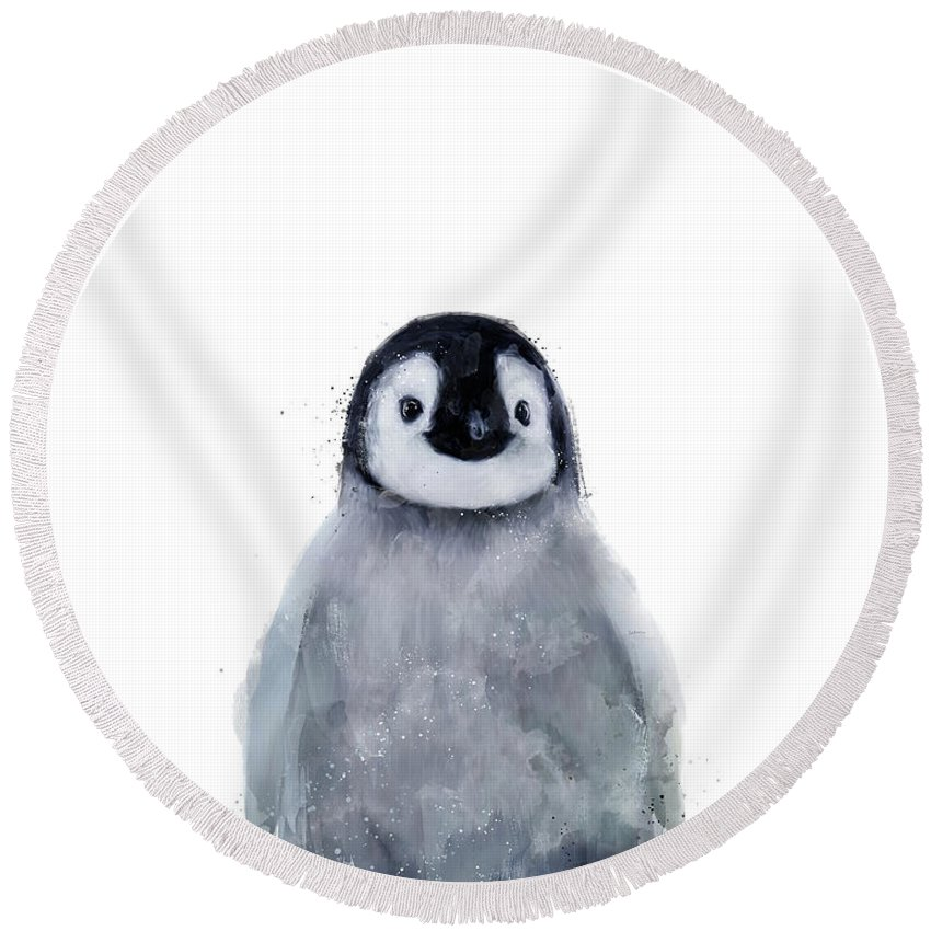 Penguin Round Beach Towel featuring the mixed media Little Penguin by Amy Hamilton