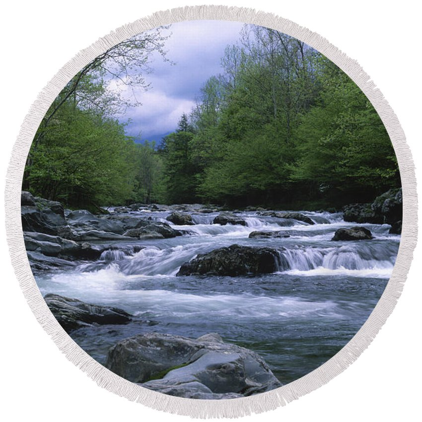 Great Smoky Mountains Round Beach Towel featuring the photograph Little Pigeon River by Sandra Bronstein