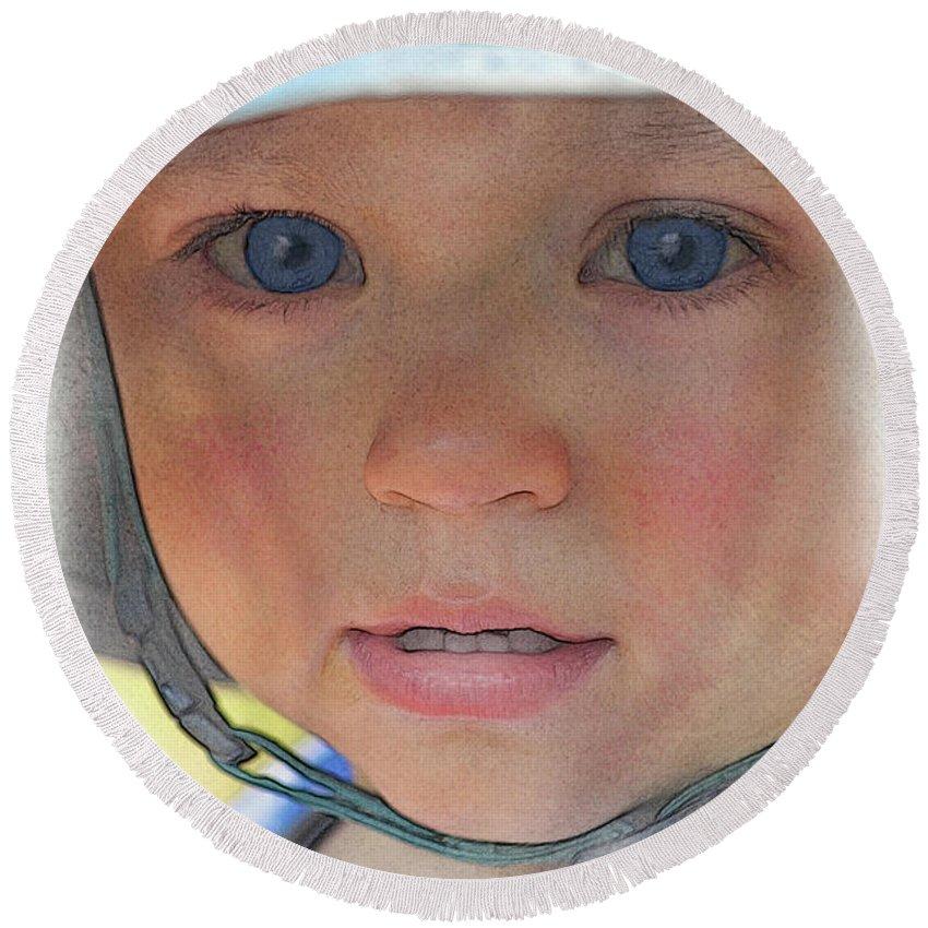 Portrait Round Beach Towel featuring the digital art Little Pilgrim Myles Alden At 1yo by William Sargent