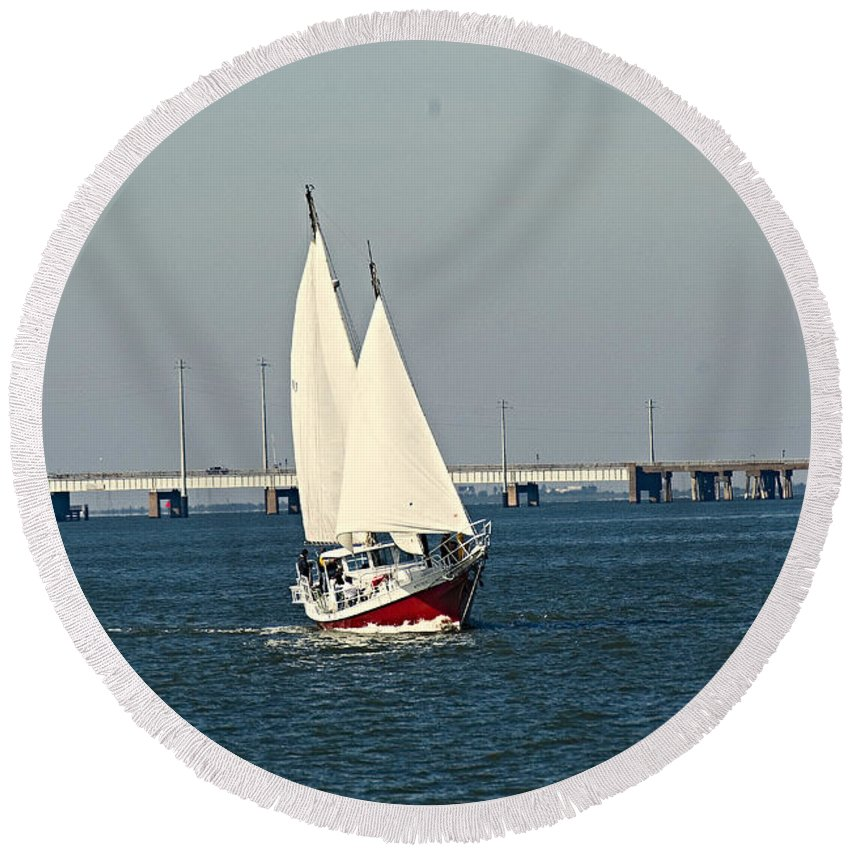 Galveston Island. Round Beach Towel featuring the photograph Little Red Boat by Robert Brown