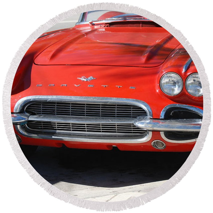 Corvette Round Beach Towel featuring the photograph Little Red Corvette by Rob Hans