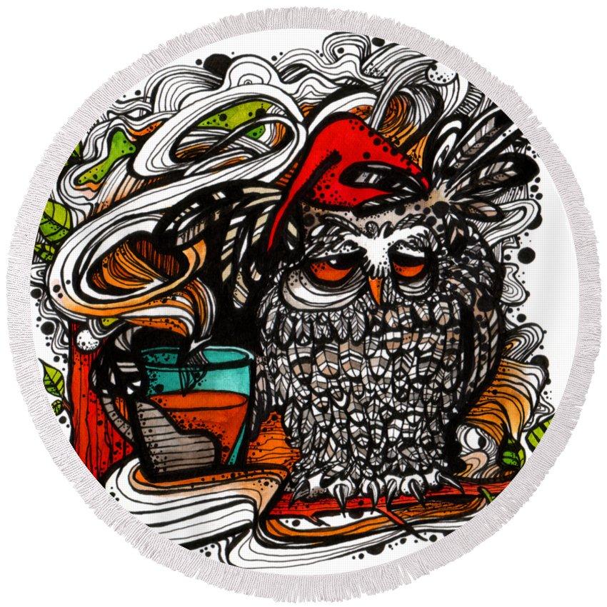Owl Good Morning Tea Sleepy Awake Tree Forest Leafs Smoke Smoky Little Red Sleepy Hood Hoot-hoot Round Beach Towel featuring the painting Little Red Sleepy Hood by Bogoosia Badowska