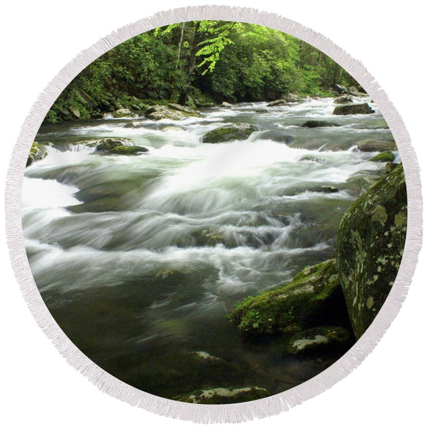 Little River Round Beach Towel featuring the photograph Little River 3 by Marty Koch