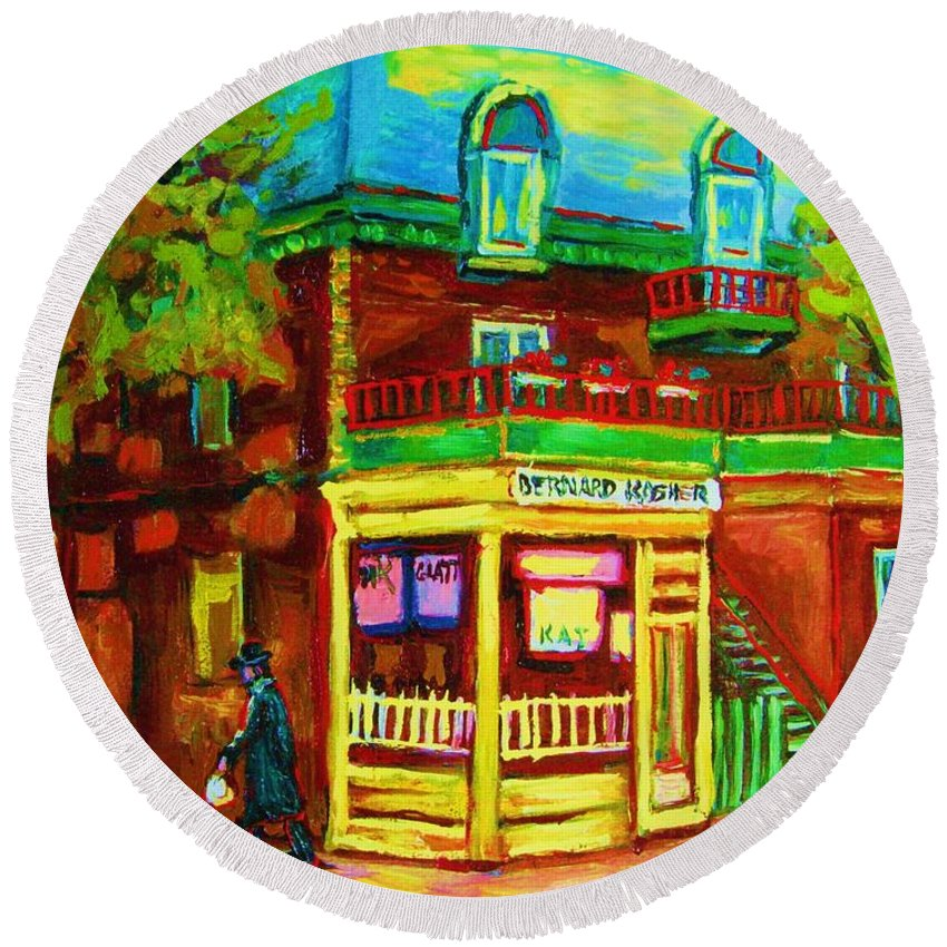 Montreal Streetscenes Round Beach Towel featuring the painting Little Shop On The Corner by Carole Spandau
