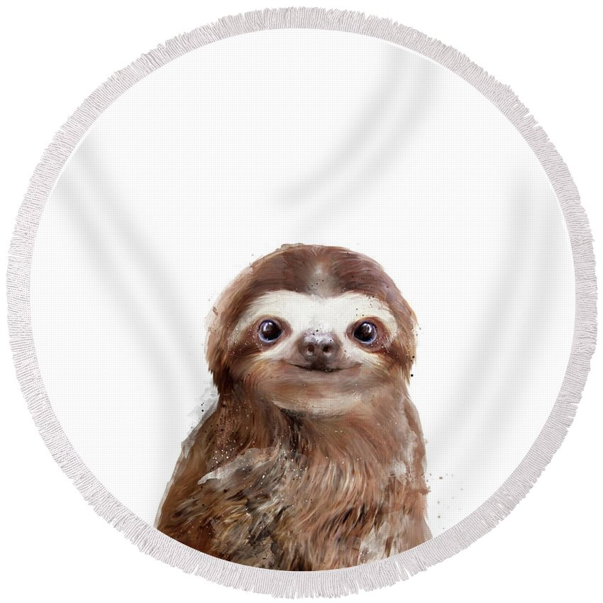 Sloth Round Beach Towel featuring the painting Little Sloth by Amy Hamilton