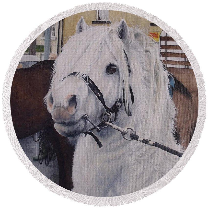 Portrait Round Beach Towel featuring the painting Little Stallion-glin Fair by Pauline Sharp
