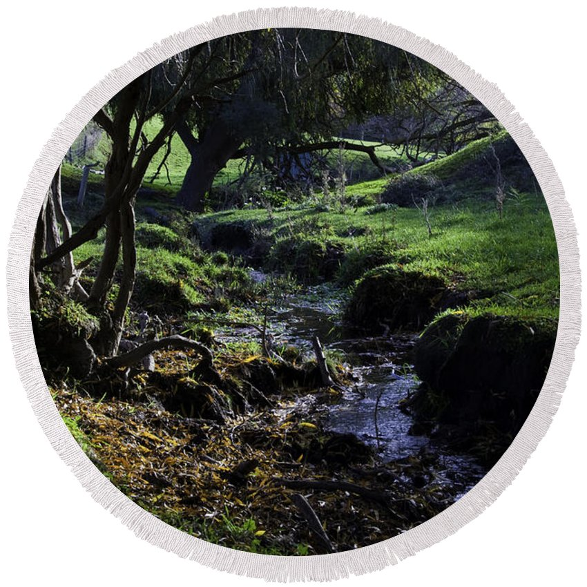 Stream Round Beach Towel featuring the photograph Little Stream by Kelly Jade King