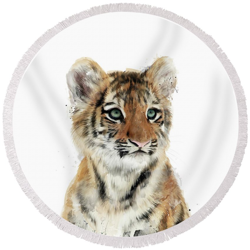 Tiger Round Beach Towel featuring the painting Little Tiger by Amy Hamilton
