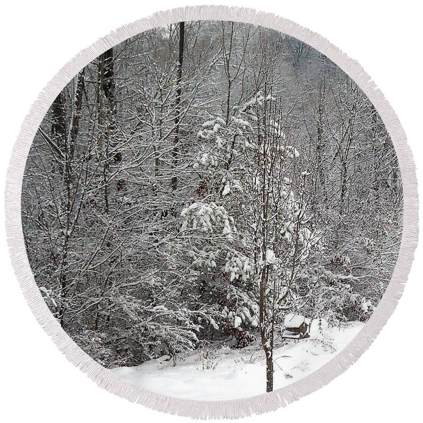 Pat Turner Round Beach Towel featuring the photograph Little Tree Big Snow by Pat Turner