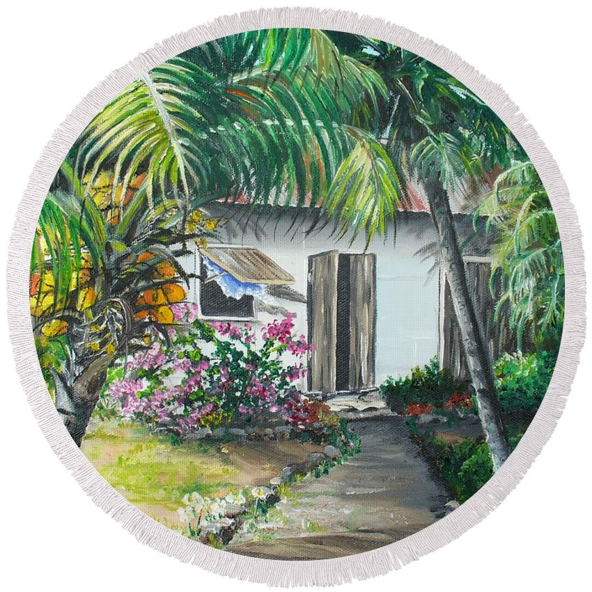 Caribbean Painting Typical Country House In Trinidad And The Islands With Coconut Tree Tropical Painting Round Beach Towel featuring the painting Little West Indian House 2...sold by Karin Dawn Kelshall- Best