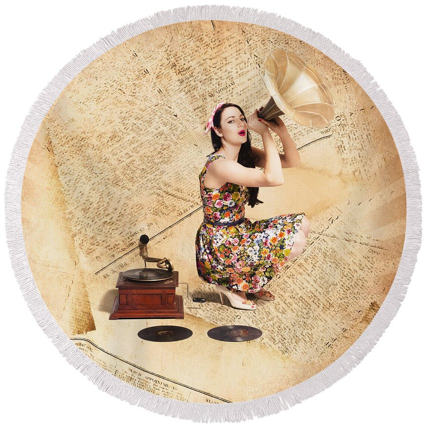 Singer Round Beach Towel featuring the photograph Live Music Pinup Singer Performing On Gig Guide by Jorgo Photography - Wall Art Gallery