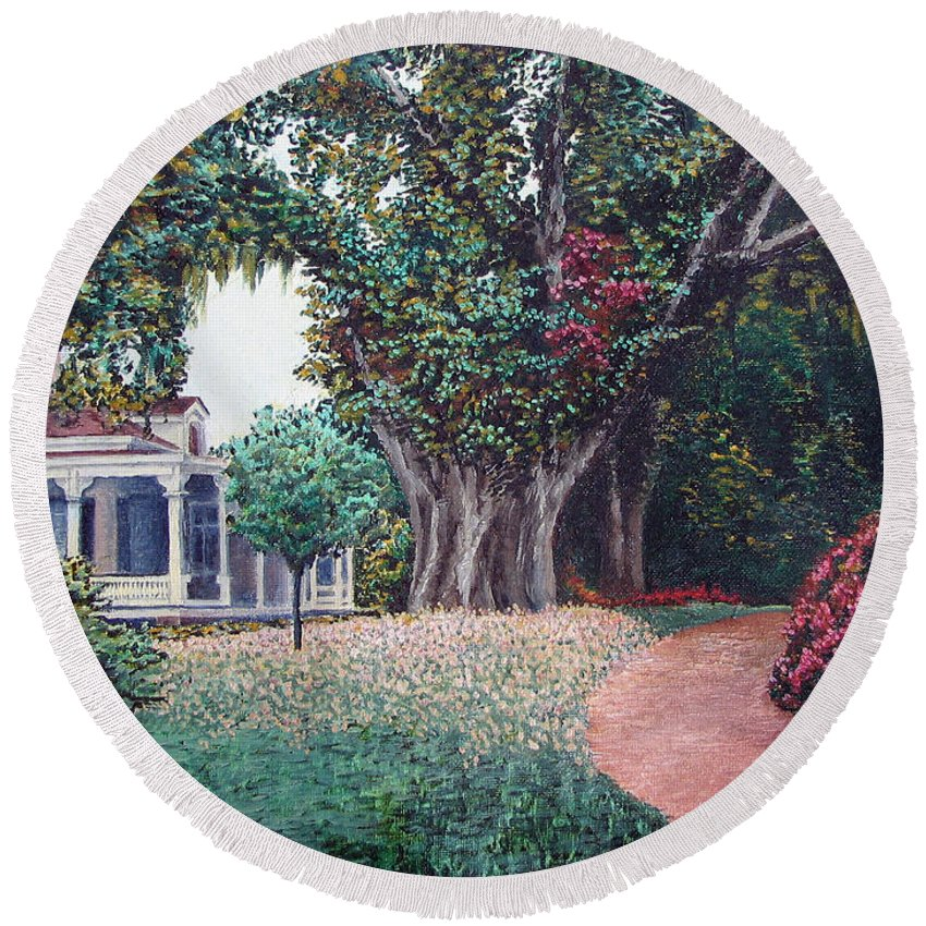 Landscape Round Beach Towel featuring the painting Live Oak Gardens Jefferson Island La by Todd A Blanchard