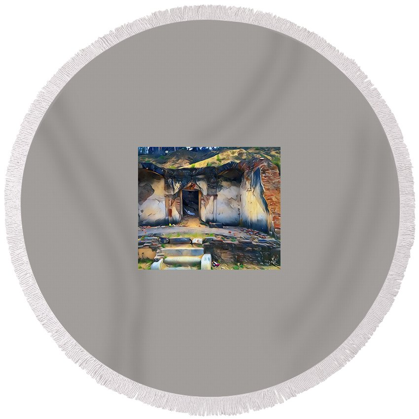 Lanscape Round Beach Towel featuring the painting Lived by Murali Gatti