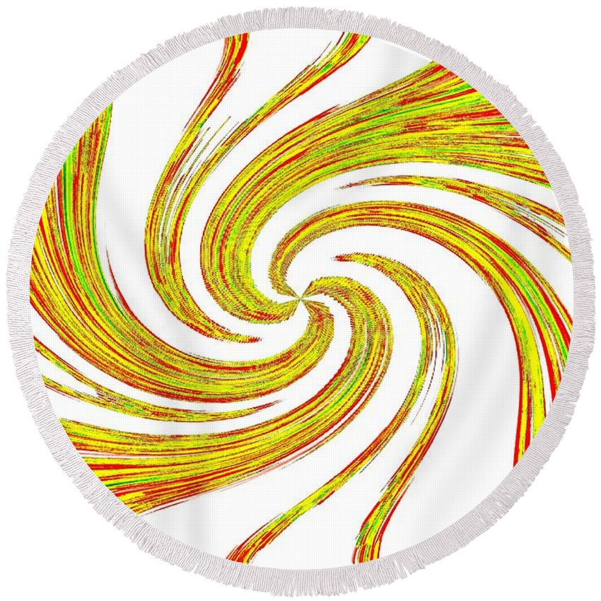 Lively Round Beach Towel featuring the digital art Lively by Will Borden