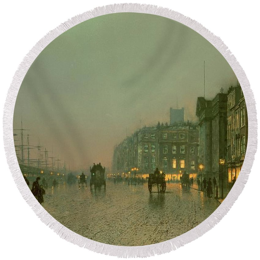 Liverpool Docks From Wapping Round Beach Towel featuring the painting Liverpool Docks from Wapping by John Atkinson Grimshaw