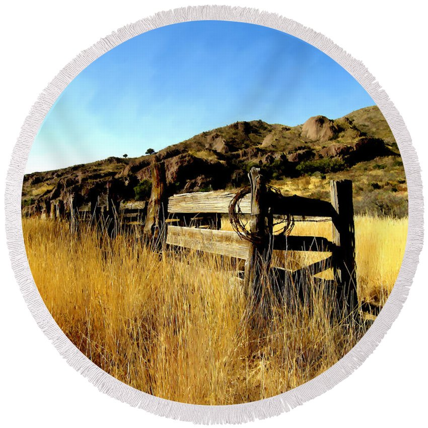 Southwestern Round Beach Towel featuring the photograph Livery Fence At Dripping Springs by Kurt Van Wagner
