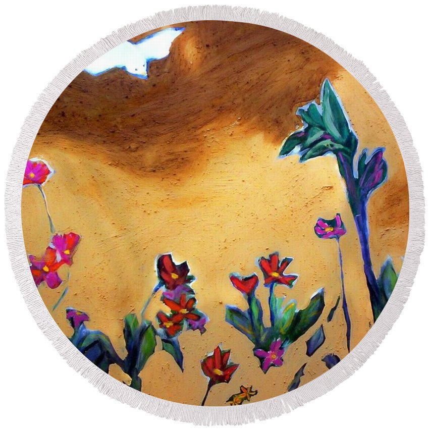 Flowers Round Beach Towel featuring the painting Living Earth by Winsome Gunning