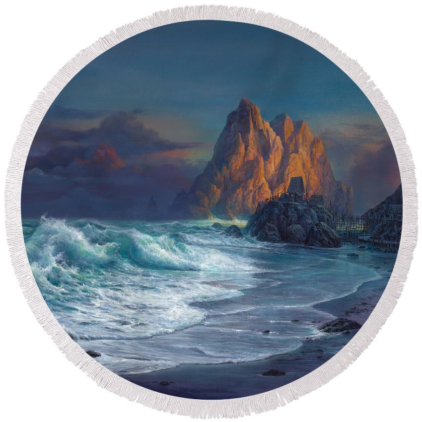 Michael Humphries Round Beach Towel featuring the painting Living On The Edge by Michael Humphries