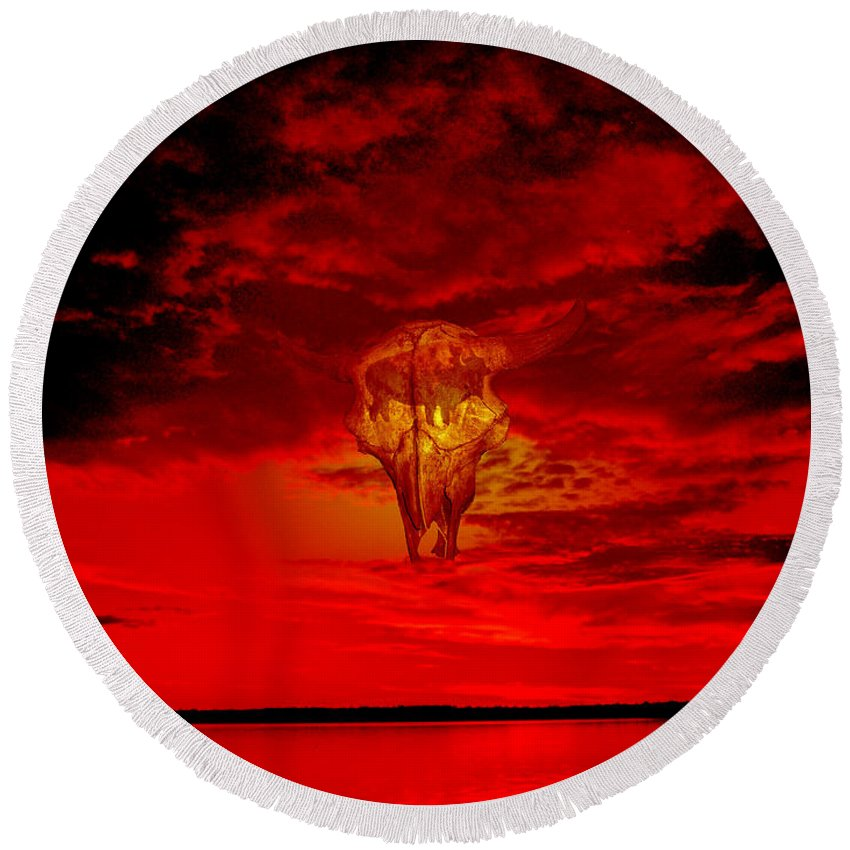Skull Sky Red Dawn Buffalo Clouds Cloudy Nature Bison Water Skyline Waterscape Round Beach Towel featuring the photograph Living Sky by Andrea Lawrence