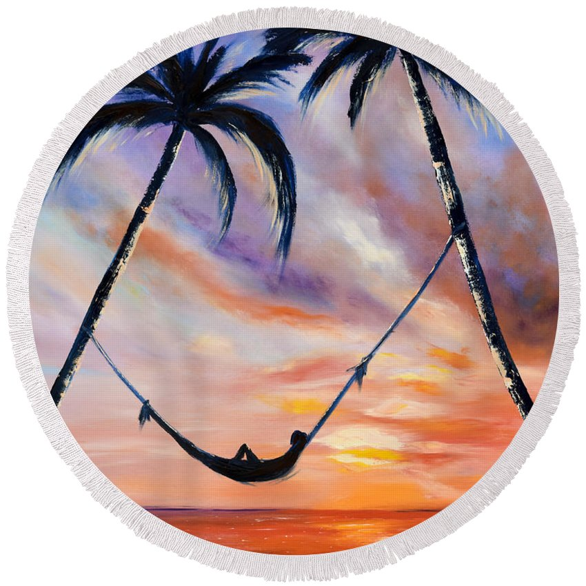 Sunset Round Beach Towel featuring the painting Living The Dream by Gina De Gorna