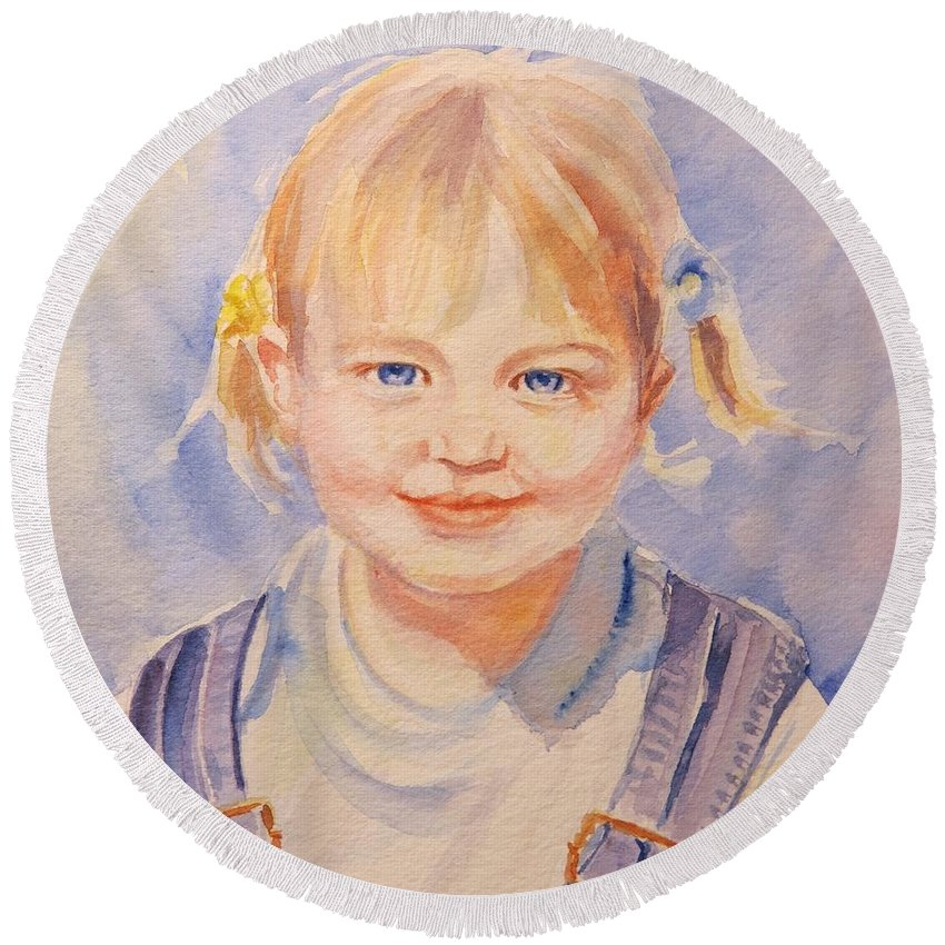 Children Portraits Round Beach Towel featuring the painting Liz At Three by Jean Costa