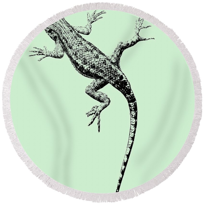 Lizard Round Beach Towel featuring the photograph Lizard In Sage Green by Colleen Cornelius