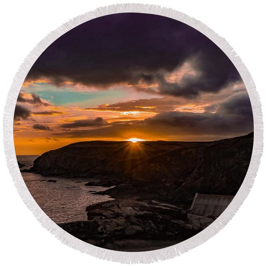 Landscape Round Beach Towel featuring the photograph Lizard point sunset by Claire Whatley