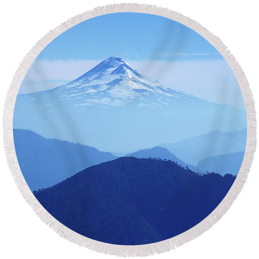 Chile Round Beach Towel featuring the photograph Llaima Volcano Chile by James Brunker